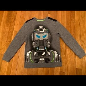 Cat & Jack Robot Flip Sequins Gray Shirt NWOT Med